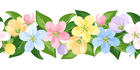 Vector horizontal seamless background with colorful flowers.
