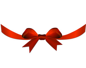 Red bow with ribbon on the gift or heart