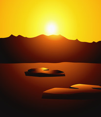Sunset on Iceberg-vector illustration