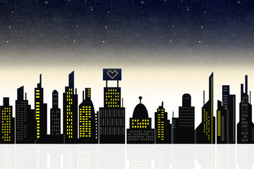 Skyline abstrakt bei Nacht