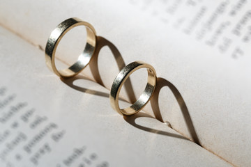 Gold wedding rings and heart of the shadows
