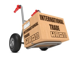 International Trade - Cardboard Box on Hand Truck.