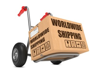 Worldwide Shipping - Cardboard Box on Hand Truck.