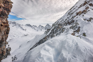 Colle della Malfatta covered with snow in Alagna Valsesia, Italy