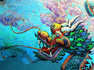 Dragon Drache China Town Graffiti