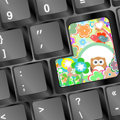 owl on computer keyboard key with flowers