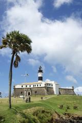Farol da Barra Salvador Brazil lighthouse with palm tree