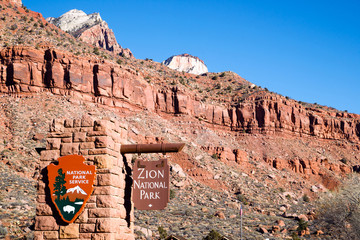 Parks Service Entrance to Zion National Park Utah
