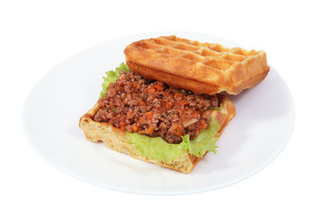 Sandwich Belgian waffles with risotto.