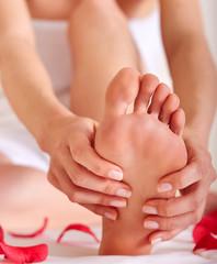 healthy foot massage, soft focus