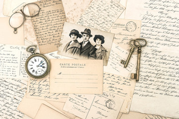 old letters and postcards, antique accessories and photo