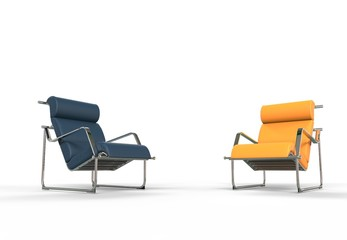 Dark Blue And Yellow Armchairs