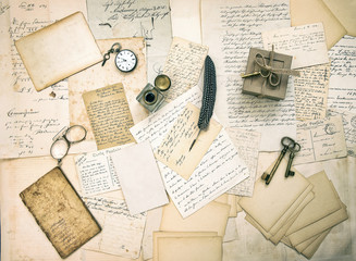 old letters and postcards, vintage accessory and antique book