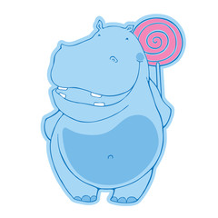Blue hippo with candy