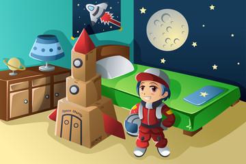 Kid dressed in astronaut costume