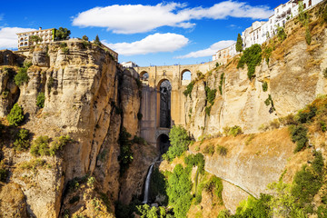 Bridge of Ronda, a famous white villages of Malaga, Spain a