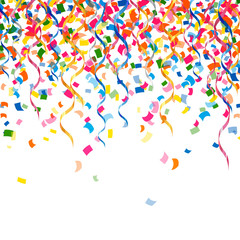 Vector Party Background with Confetti  and Curly Ribbons