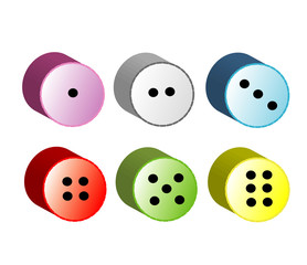 Round dice, buttons, isolated, vector