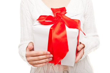 Woman with box of gift in hand on white isolated
