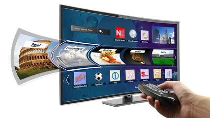 Smart tv with apps and hand holding remote control