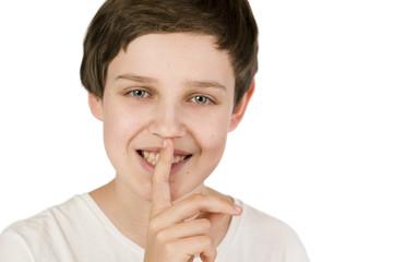boy finger on mouth