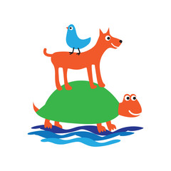symbol turtle, dog and bird