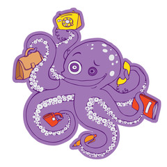 Crazy purple octopus.   Vector illustration