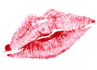 beautiful red lips isolated on white