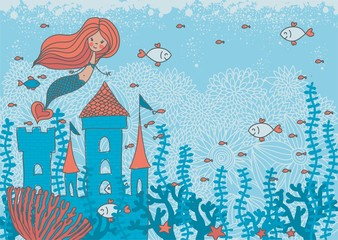 cartoon doodle illustration of a mermaid in corals