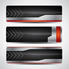 Metal banner set with carbon background