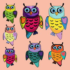 Set of Cute Owl, cartoon drawing(hipster symbol series)
