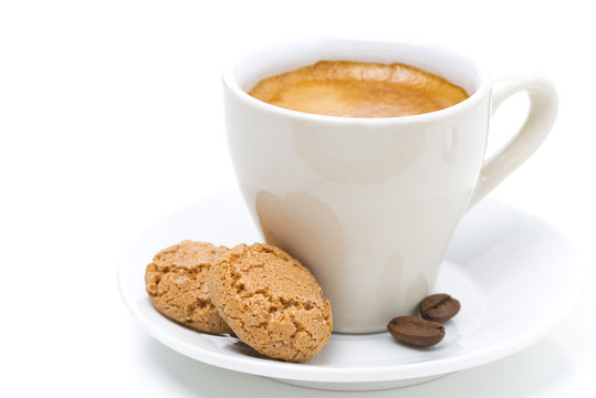 biscotti cookies and cup of espresso, selective focus, isolated