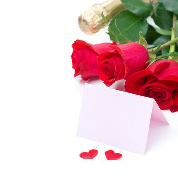 Card for congratulation, roses, champagne, isolated