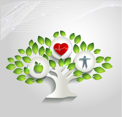 Healthy human concept, tree and health care symbols