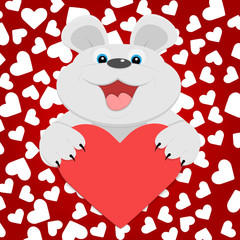 Teddy bear with red heart. Vector illustration.