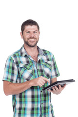 Deaf or hearing impaired man with tablet