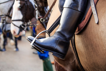 Horse riding boots and stirrups