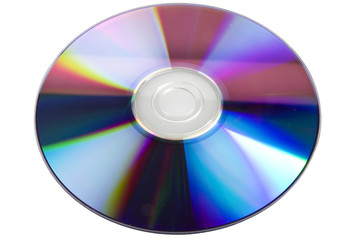 DVD disk DVD-rom close up on white background