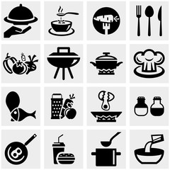 Kitchen and cooking vector icons set on gray
