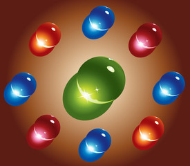 colored glass spheres