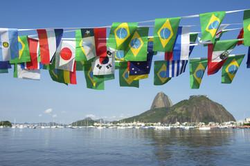 Brazilian International Flags Sugarloaf Mountain Rio Brazil