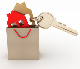 3d model house symbol set in paper shopping bag and key