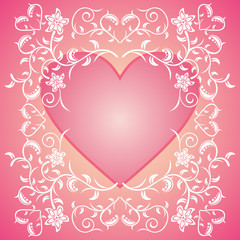 Pink Valentines day background card with flowers