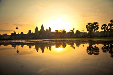 Famous Angkor Wat temple in sunrice,  Cambodia.