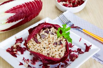risotto with cicory, radicchio
