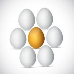 golden egg around white eggs. illustration design