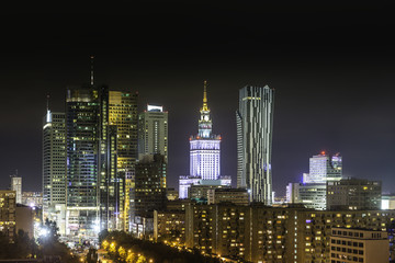 Warsaw business district at night