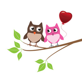 vector owls with red heart balloon
