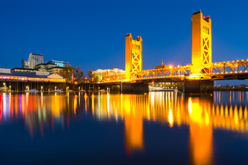 Tower Bridge at night in Sacramento California