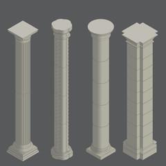 Classical columns, isometric